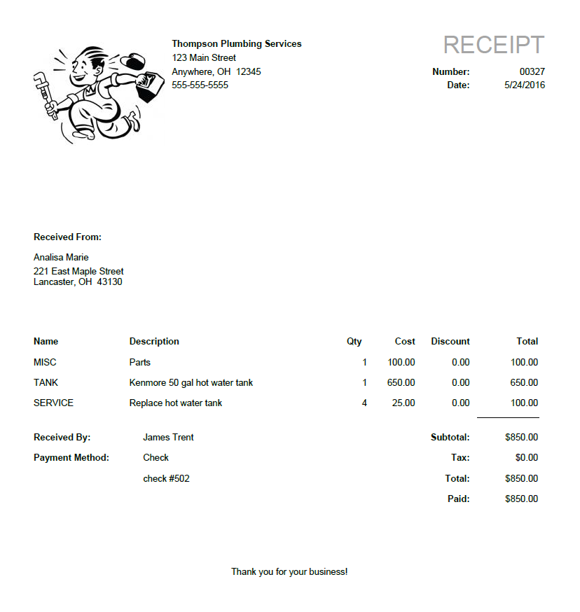 sendreceipt create print email sales receipts online